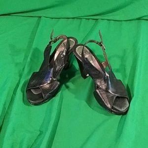 Sofft black strap heel sandals size 7.5